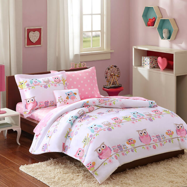 Girls Twin Bedding Bed Bag Set Vibrant Color Teen Polka Dot