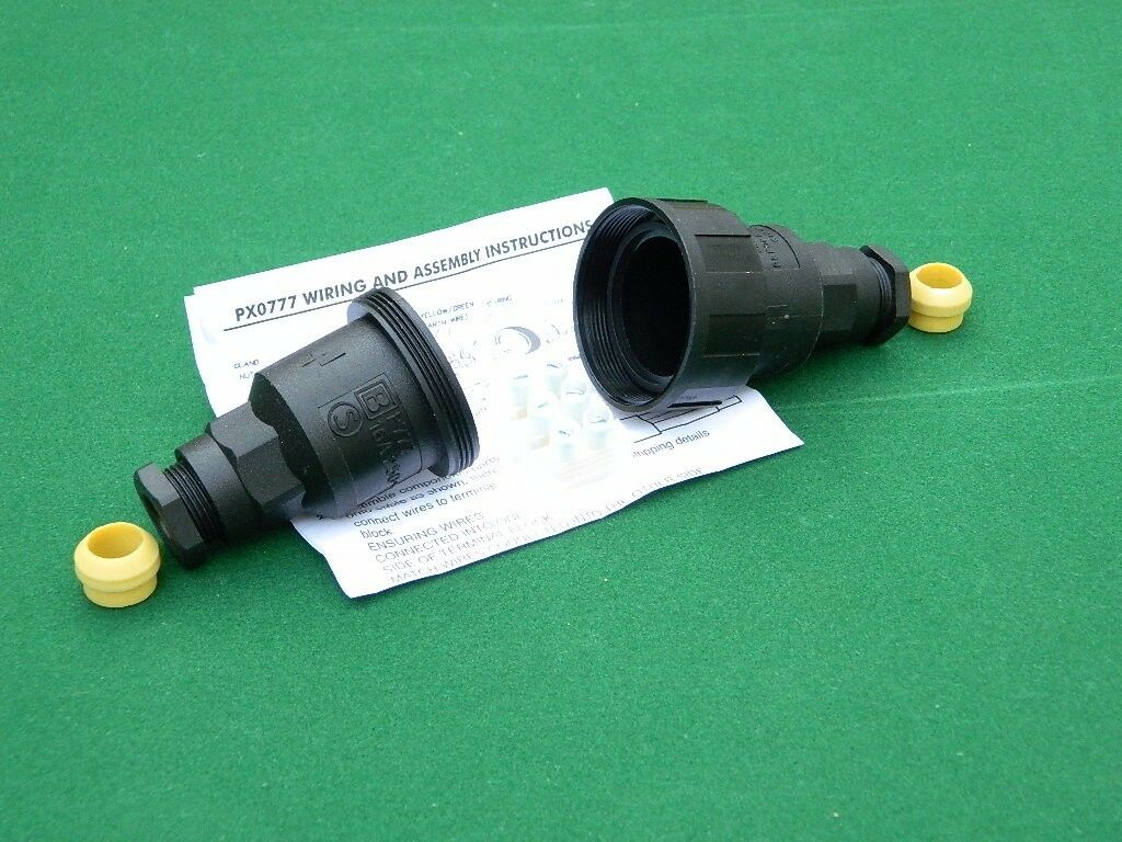 Bulgin cable joiner weatherproof, rated IP66. Easy to wire as a plug.
