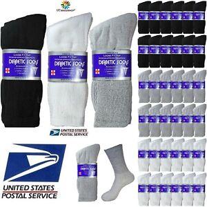 Lot-of-3-6-12-Pair-Men-Loose-Fit-Diabetic-Crew-Socks-Health-Cotton-10-13