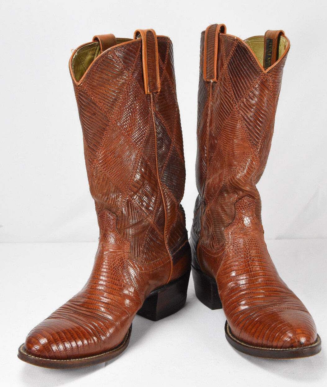 Dan Post Mens Brown Tan FULL Lizard Leather Exotic Cowboy Boots Vintage Size 7 D