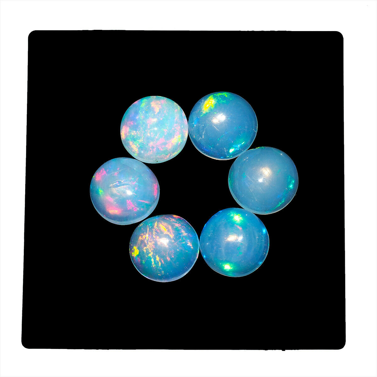 6 Piezas Natural Ópalo Etiopía 7mm llamativo Redondo Cabujón piedras preciosas lote de calidad superior