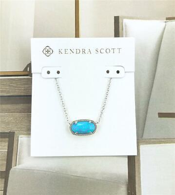 NWT Kendra Scott Elisa White Kyocera Opal Pendant Gold tone Necklace