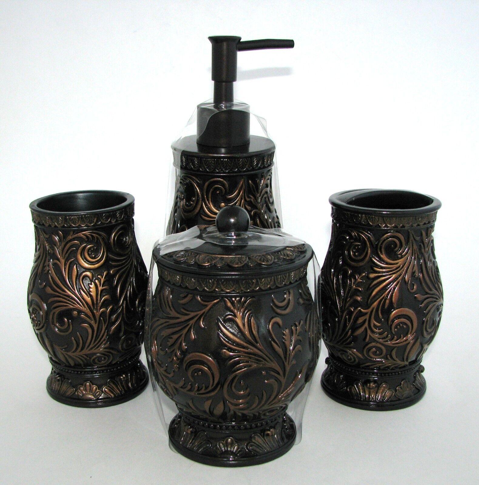 5 Pièces Set Marron,Bronze Résine Distributeur de Savon ,Verre,Plateau,Bocal | | | Caracteristique  55fbda