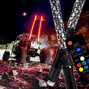 2pc 3ft Led Whip Lighted Spiral Antenna Remote Fit Atv Polaris Rzr Utv Ebay