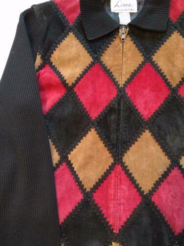 Patchwork Sleeve M Louis Kvinders Dell'olio Argyle Contrast Suedejakke Linea waUqYgpR
