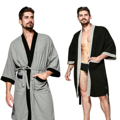 Details about  /Men Women Kimono Bathrobe Top Pajamas Sleepwear Nightwear Gown Cotton Midi Coat
