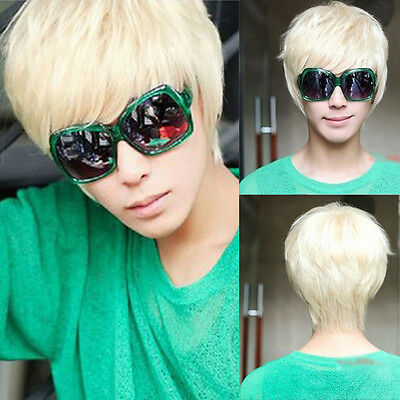 Mens Boys New Trendy Short Straight Platinum Blonde Wig Cosplay Party Costume
