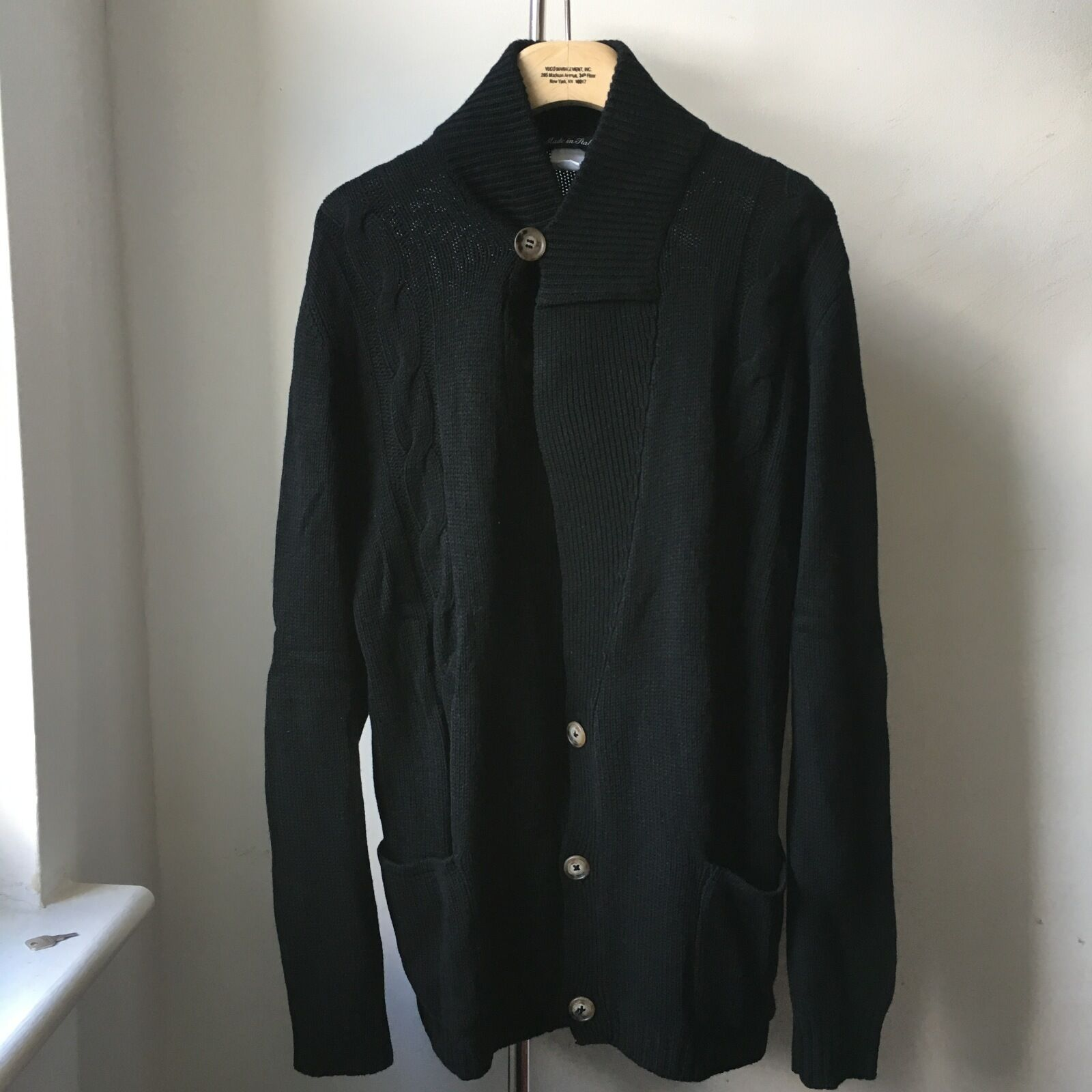 Very Cool Adam Kimmel 100% Cashmere Made in  schwarz Cardigan Sz M