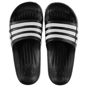 21b037f49e2d31 NEW Adidas Mens Duramo Sliders Flip Flops Black White SIZE FROM 4-18 ...