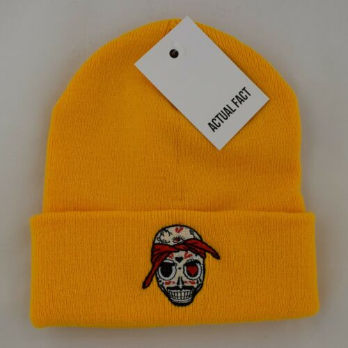 Tupac Day of The Dead Skull Red White Yellow Graphite Beanie Hat by Actual Fact