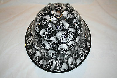 New Custom MSA V-Gard (Full Brim) Hard Hat W/Fas-Trac Ratchet     WHITE SKULLZ
