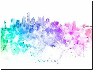 New-York-City-Skyline-USA-watercolor-Abstract-Canvas-Art-Print-8-034-X10-034
