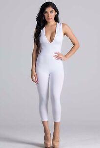 Women White Jumpsuit Romper Capri Bodycon Deep V Neck Trousers Pant