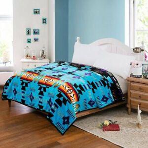 Black Southwestern Navajo Print Silk Touch Reversible Queen Size Blanket Green