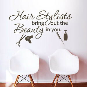 Details about Inspiration Art Wall Decal Hair Salon Stylists The Beauty  Quote Vinyl Shop Decor