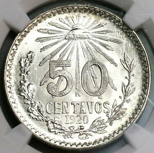 1920-NGC-MS-65-Mexico-50-Centavos-Mint-State-Silver-Coin-19100404C