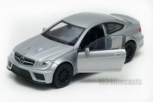 Mercedes-Benz-C-63-AMG-Coupe-Plata-Welly-Escala-1-34-39-Modelo-del-Coche-de-Juguete-Regalo
