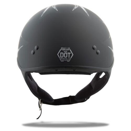 GMAX GM65 HALF HELMET FLAT BLACK WHITE FLAME BLACK EXTRA LARGE HARLEY MOTORCYCLE