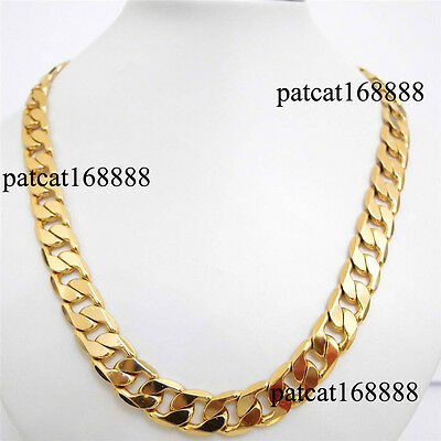 """36"""" inch 24k yellow gold filled men's necklace curb chain jewelry(STAMPED ITALY)"""