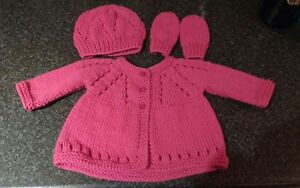 Hand Knit Raspeberry Pink Newborn 3m Baby Girl Cardigan with Hat amp Mittens - Barnoldswick, United Kingdom - Hand Knit Raspeberry Pink Newborn 3m Baby Girl Cardigan with Hat amp Mittens - Barnoldswick, United Kingdom