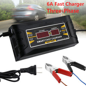 Details about 12V 6A LCD Smart Fast Car Battery Charger Maintainer for Motorcycle US