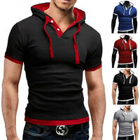 Men Stylish Cotton Short Sleeve Slim Fit Polo Shirt Hooded T-Shirts Casual Shirt