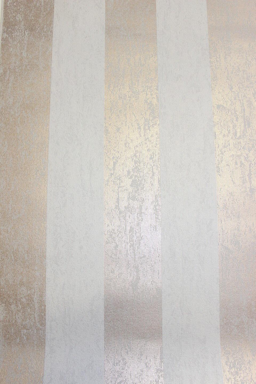 Vlies Tapete Streifen Struktur Beige Rose Gold Metallic  Mercury Stripe