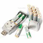 Lot of 16Pcs AAA 1350mAh 1.2 V Ni-MH BTY Rechargeable Battery&AA AAA USB Charger