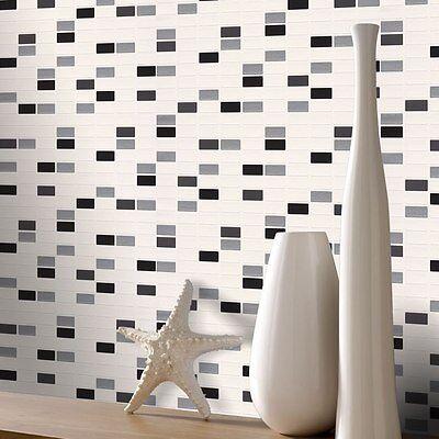 Kitchen & Bathroom Mosaic Rectangle Tiles Wallpaper by Rasch 817119
