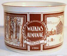 WATKINS ALMANAC SOUP BOWL MARCH 1904 WITH HANDLE MUG CUP STONEWARE FARM  LIFE