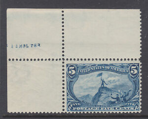 US-Sc-288-MNH-1898-5c-dull-blue-Trans-Mississippi-choice-sheet-corner-single