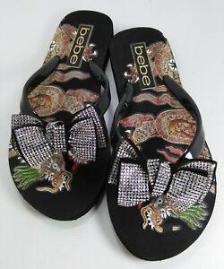 42b26c232877 New Bebe Flip Flops Flat Sandals Addie Black Bow Rhinestone Dragon ...
