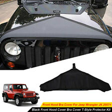 Black Front Hood Bra Cover T Style Protector Kit For Jeep Wrangler Jk 2007 2017 Fits Jeep