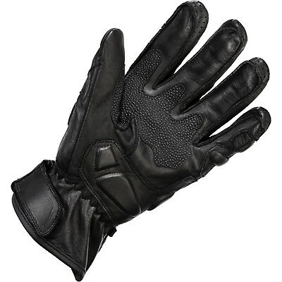 Black Track Leather Motorcycle Gloves Motorbike Short Vented Sports Race Bike