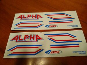 Estes-Alpha-Decal-Set-Model-Rockets-PN-37508A-Lot-of-2-Sets-Red-Blue