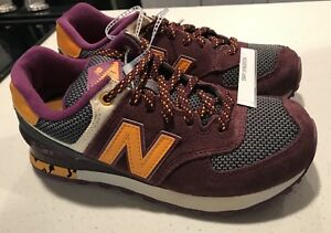the best attitude e82b5 bf644 Details about New Balance 574 WL574TSX Classic Running Burgundy Grey Yellow  Womens Size 5