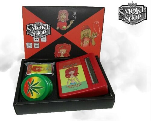 Smokers Stash Box Storage Smoking King Size Rolling Paper Grinder Pipe Roach Set
