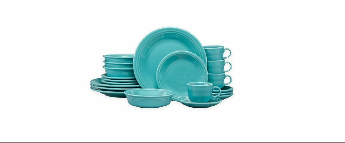 Fiesta Dinnerware 20 Piece Dining Set - Turquoise bluee - 855107