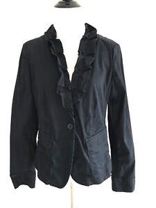 Talbots-Womens-Size-6-Ruffle-One-button-V-neck-Jacket-Cotton-Long-Sleeve-Black