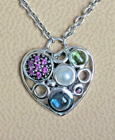 - Effy Sterling Silver Pearl Sapphire Heart Pendant + 17 Chain Necklace