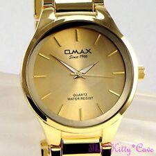 Omax Waterproof Classic Steel Gold Plate Swiss Brand Seiko Movement Watch HBK835