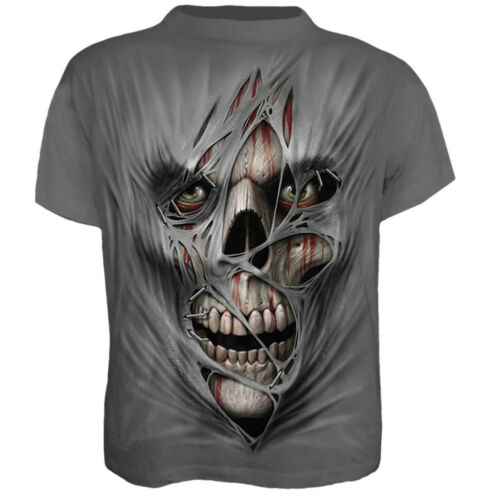 Men Summer 3D Print Skull Skeleton T-shirts Short Sleeve Tops Tee Halloween