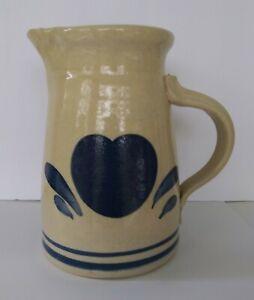 Hand-Thrown-Salt-Glazed-Signed-6-1-4-034-Pottery-Pitcher-w-Blue-Heart-Motif-NICE