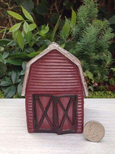 Miniature Dollhouse FAIRY GARDEN ~ Mini Red FARM Barn House w Silver Roof ~ NEW