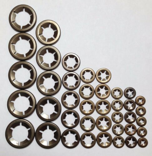 Genuine Copriasse di sostegno push su rondelle di bloccaggio 5x 3,4,5,6,8,10,12/&16mm 40PCE