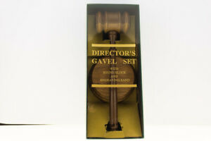 Vintage McGill Director's Gavel Set New Old Stock NIB Walnut Brass Plate Judge