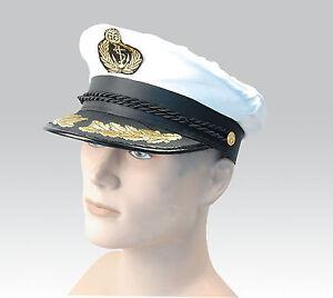 NEUF-blanc-adulte-yacht-bateau-Capitaine-chapeau-marine-Casquette-MATELOT-satin