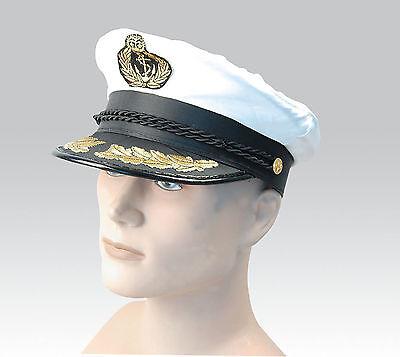 Clever Neu Weiß Erwachsene Yacht Boot Kapitän Hut Marineblau Kappe Matrose Satin Kostüm