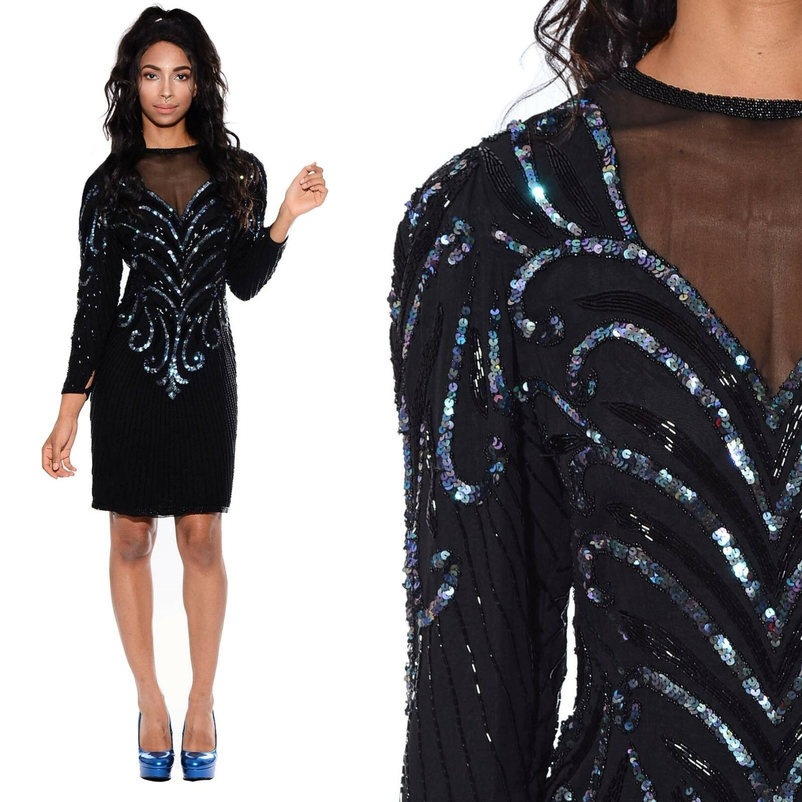 Vtg 80s Silk SEQUIN Beaded Sheer Mesh Flapper Deco Trophy Cocktail Party Dress