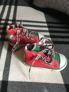 Details about Converse All Star Chuck Taylor Red Green Christmas Rare Baby Toddler Size 4 EUC
